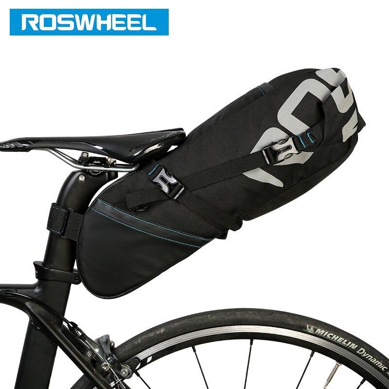ROSWHEEL 131414 vélo tige de selle sac vélo selle siège stockage sacoche cyclisme vtt route arrière Pack étanche à l'eau extensible 8L 10L