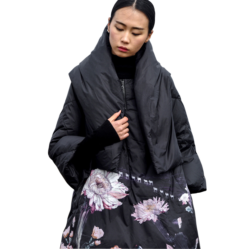 2019 winter new Jackets Women 90% White Duck   Down   Print colourful Parkas with Hooded   Coats   Long   Down   Warm