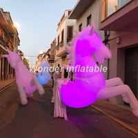 Customized 2.5mH adult inflatable horse costume with led lights for parade events decoration