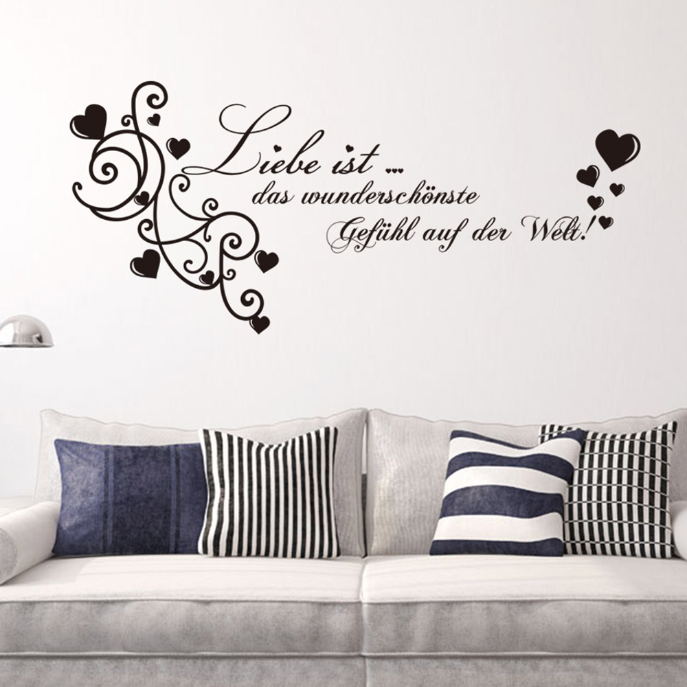 Creative Home Decor Black Plane Wall Stickers German Quotes Liele Pattern For Living Room