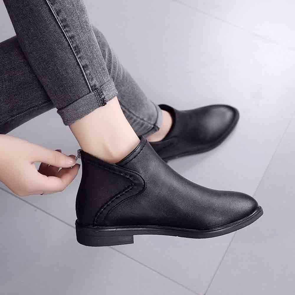 Stiefel Frauen Täglichen Platz Ferse Zip Schuhe Atmungs Weibliche Bequeme Quadratischen Kopf Spitz Schuhe Retro Herbst PU Leder