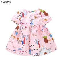 Niosung 2016 High Quality Kids Clothes Girl Vestidos Casual Short Sleeve Cartoon Printed Princess Summer Dress v