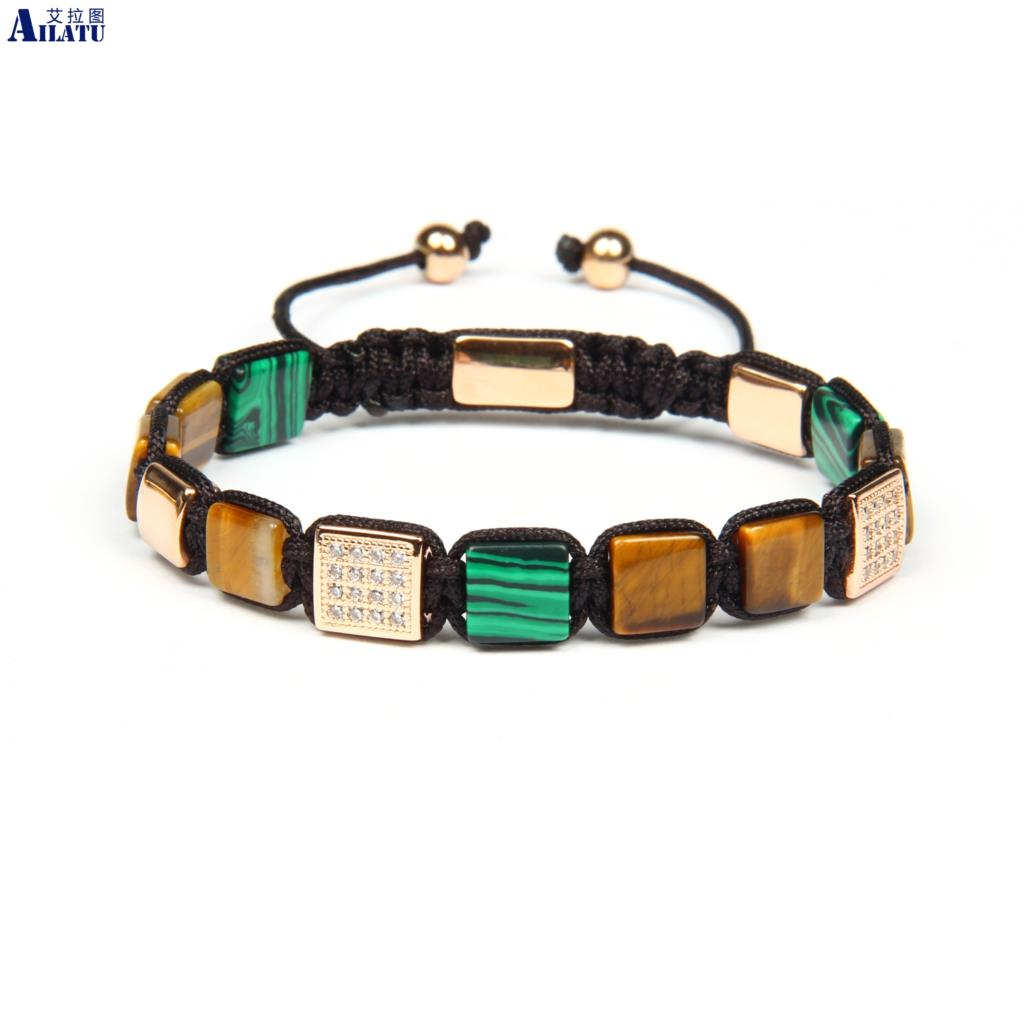 Ailatu Natural Red Yellow Tiger Eye Square Flatbed Braided Bracelet Stainless Steel Beads Top Quality