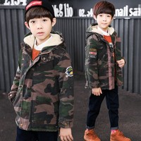 2017 New Winter Children Boys Cotton Padded Warm Coat Suit For Kids Boys Hooded Zipper Camouflage