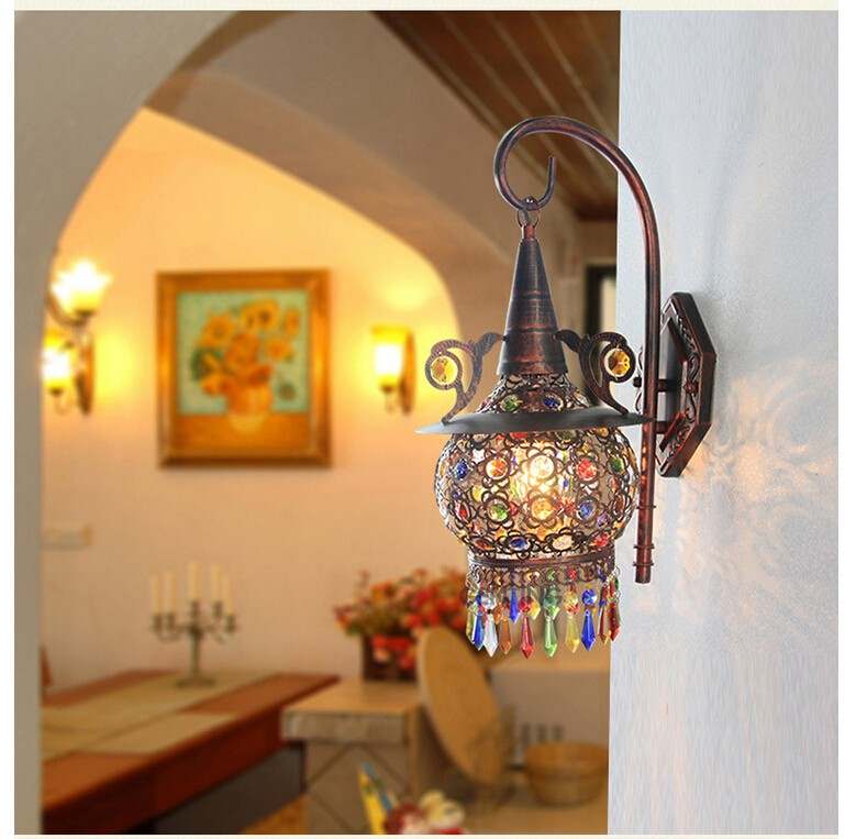 Tiffany Colorful Nordic Vintage Iron Crystal Led Wall Lamp Bohemian Bedroom Wall Lamp Tiffany Wall Lamp D220mm H470mm AC 90~260vTiffany Colorful Nordic Vintage Iron Crystal Led Wall Lamp Bohemian Bedroom Wall Lamp Tiffany Wall Lamp D220mm H470mm AC 90~260v