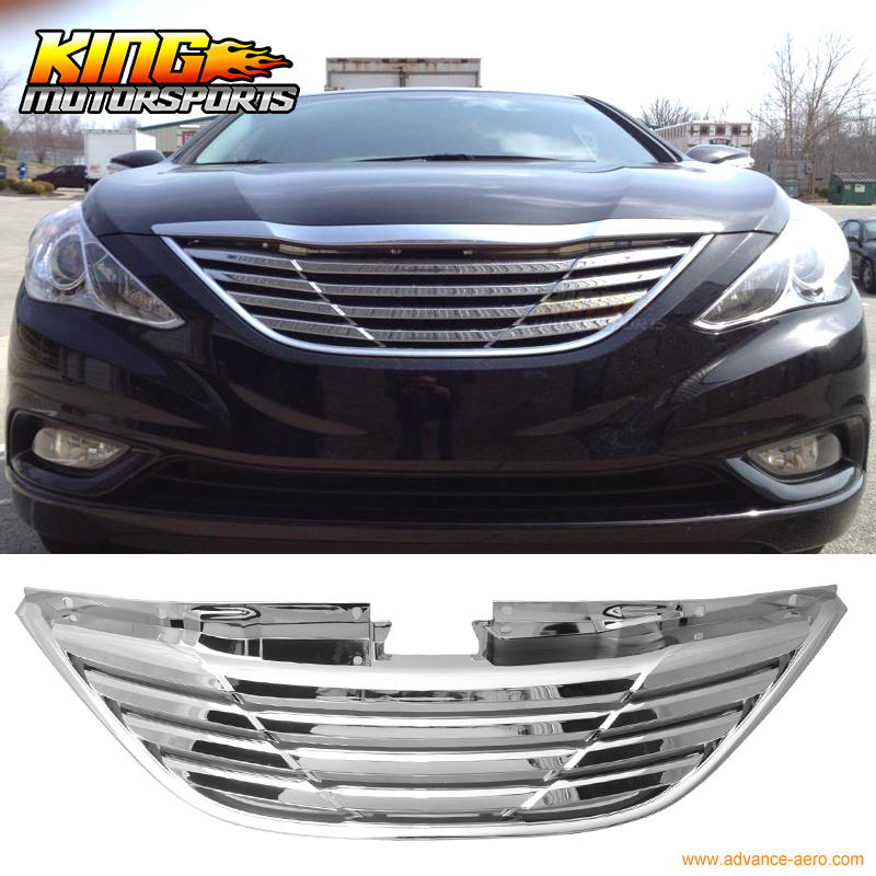 For 2011-2013 Hyundai Sonata Front Grille Grill Chrome - ABS US Domestic Free Shipping for 02 05 dodge ram black sport billet front hood bumper grill grille frame abs usa domestic free shipping hot selling page 7