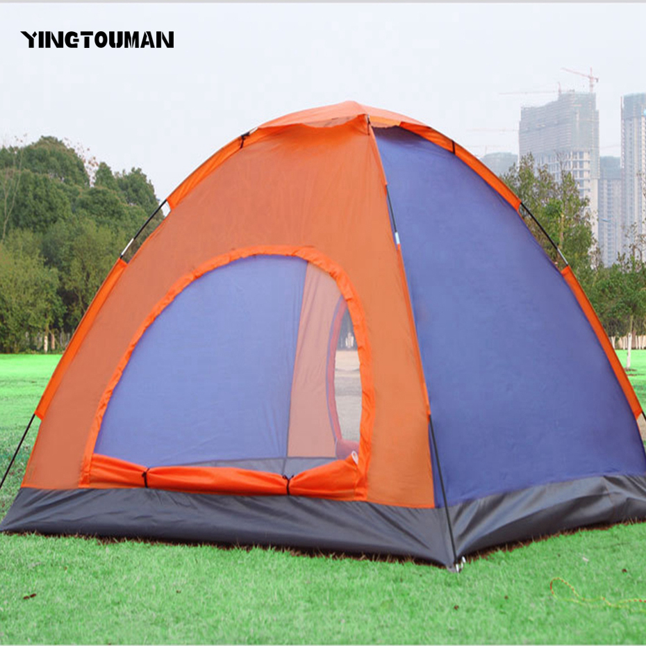 YINGTOUMAN Outdoor 3-4 Person Quick Automatic Opening Outdoor Camping Picnic Tent Fiberglass Tents Double yingtouman outdoor 2 person waterproof double layer tent fiberglass rod portable ultralight camping hikingtents
