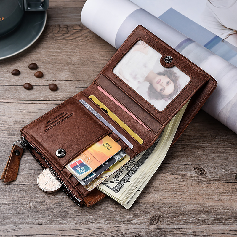Genuine Leather Men Wallet Short Coin Purse Men's Wallets
