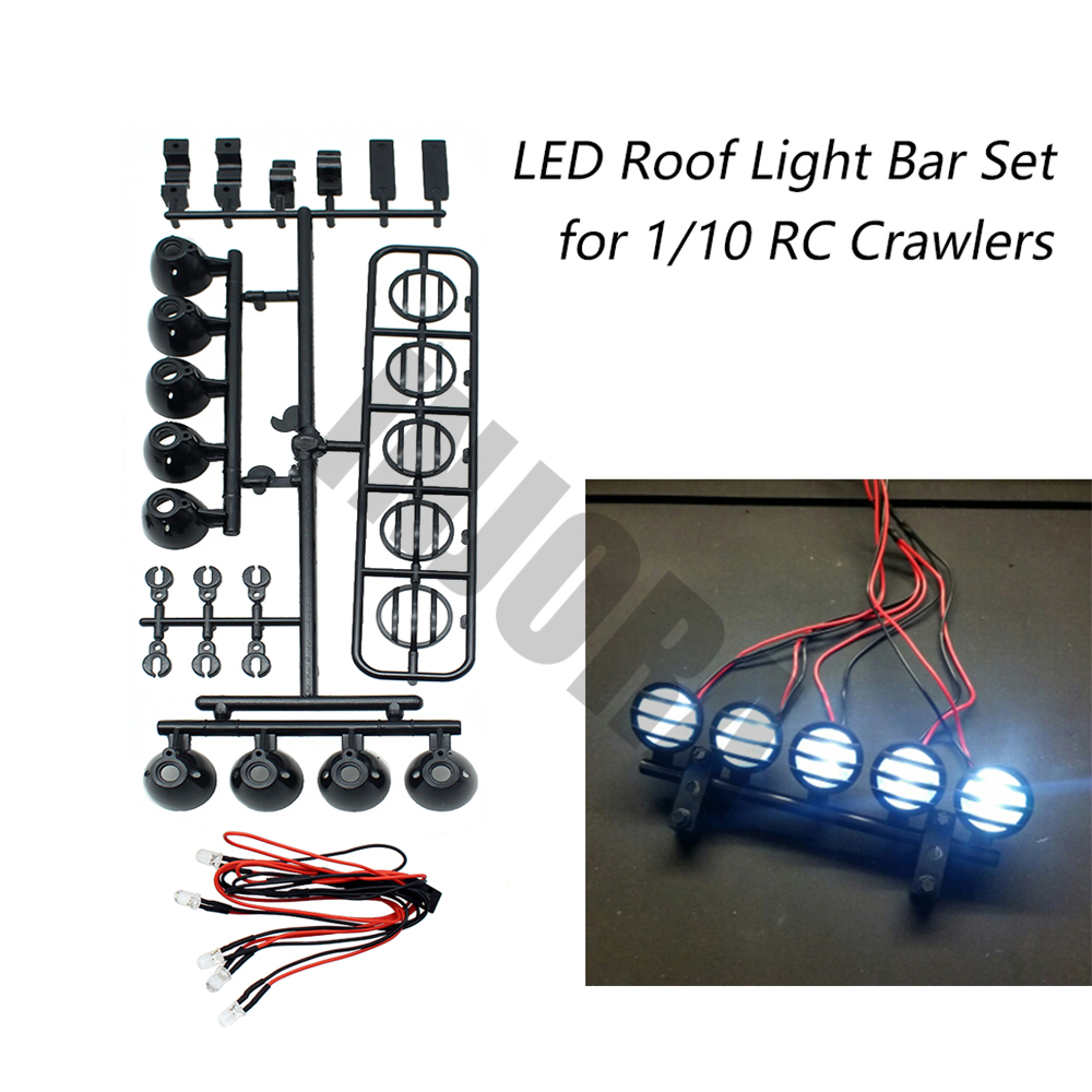RC Car Roof LED Light Bar Set 5 Spotlight for 1/10 RC Crawler TAMIYA CC01 Axial SCX10 90046 RC4WD D90 HSP Traxxas Monster Truck partol black car roof rack cross bars roof luggage carrier cargo boxes bike rack 45kg 100lbs for honda pilot 2013 2014 2015