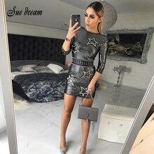 2019sexy herfst en winter ronde hals jurk vrouwelijke pailletten elegante party tight mini jurk kralen party dress