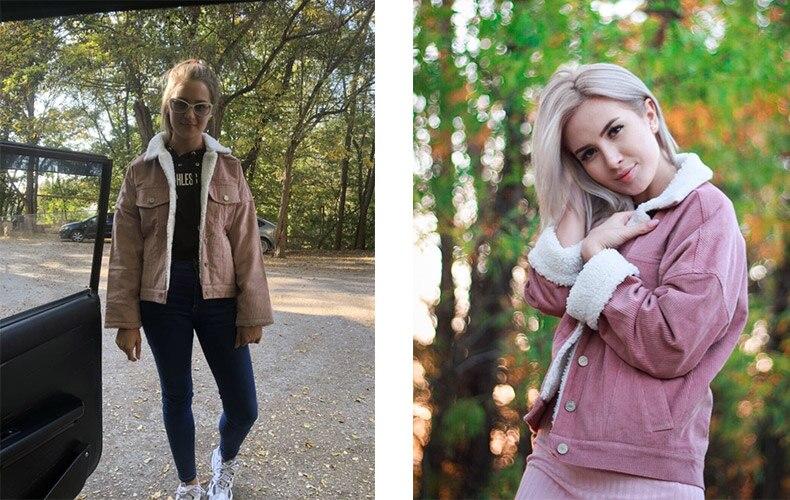 Toyouth Autumn Winter Corduroy Basic Jacket Lambswool Bomber Jacket Women Long Sleeve Jacket Casual Single Breasted Denim Jacket 6