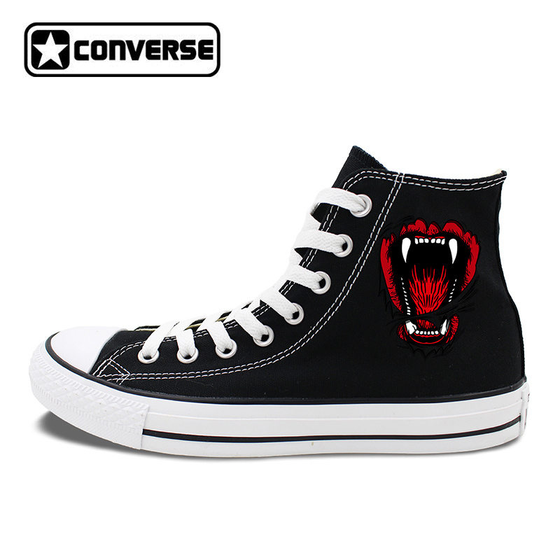 Men Canvas Sneakers Animal Wild Beast Mouth Bite Converse Chucks Taylor High Top Skateboarding Shoes Women Lace up Flats converse all star high top shoes for men women dreamcatcher design flats lace up canvas sneakers for gifts