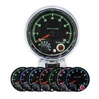 95mm/3.75'' Tachometer 0-8000RMP Range Gauge Digital Pointer LED Rotate Speed Meter Fit For 4/6/8 Cylinder Car Warning Function