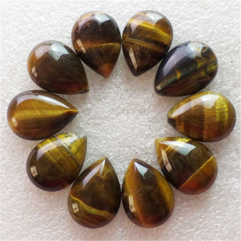 (10 pieces/lot) Wholesale Natural Tiger Eye Gem Teardrop CAB Cabochon 25x18x7mm Free Shipping Fashion Jewelry S-70