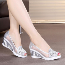 Fish mouth wedge sandals 2018 summer new womens shoes rhinestones OL hollow net