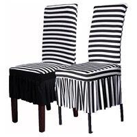 Stretch Dining Chair Cover Black White Animal Zebra Wedding Short Banquet Covers HOMHM0010