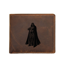 Engraved Photo Darth Vader Genuine Leather Wallet Men Multi Card Holders Small Coin Purses Star Wars RFID Wallets