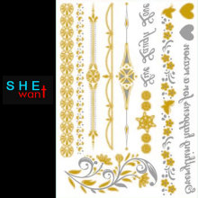 Special Offer Rushed Hair Tattoo Gold Metallic Painted Female Body Art, Temporary Sticker Label Products