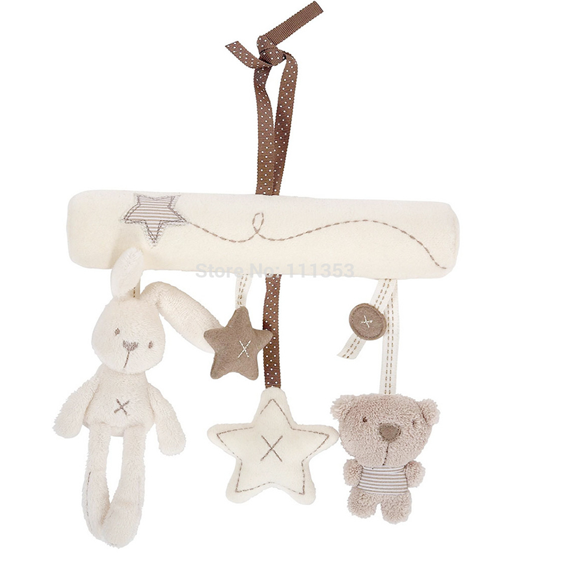 New Hot Baby Infant Cot Hanging Toy Doll Toy Soft Plush Rabbit Musical Jingle Rattles
