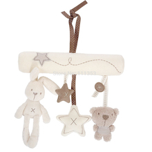 Rabbit baby hanging bed safety seat plush toy Hand Bell Multifunctional Plush Toy Stroller Mobile  Gift
