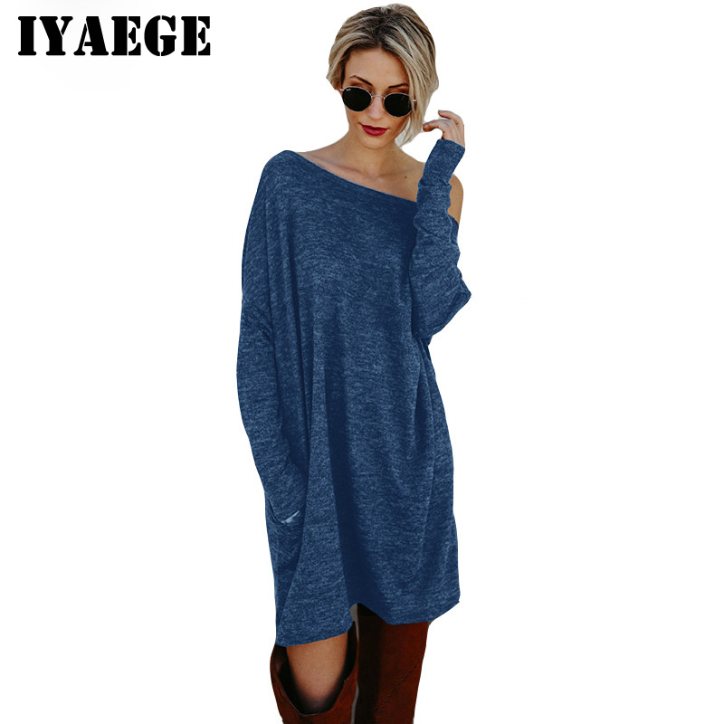 20b47fa49db IYAEGE Women Dress 2018 Fashion Loose Long Sleeve Knitted Dress with Pocket  Sexy Off Shoulder Mini Party Dress Robe Vestidos XXL-in Dresses from Women s  ...