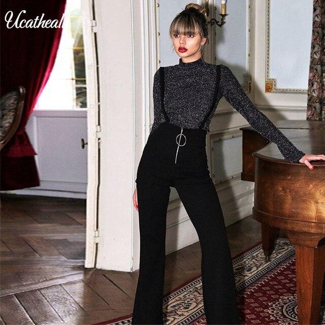Ucatheall новые передние подтяжки на молнии Длинные брюки Широкие брюки с высокой талией женские брюки повседневные Элегантные расклешенные ремни ремень брюки