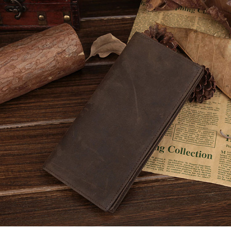 NEWEEKEND 1008 Retro Casual Genuine Leather Cowhide Crazy Horse Simple Long Card Cash Photo Wallet Coin Purse Handbag for Man
