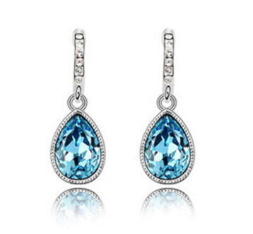 2016 New arrival hot sell blue crystal water drop 925 sterling silver ladies`stud earrings jewelry gift promotion women