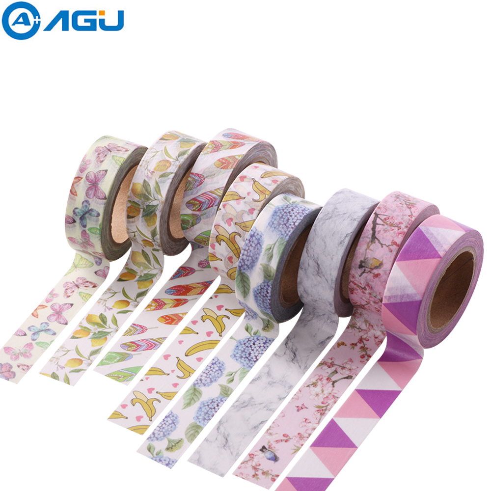 AAGU New Arrival 15MM*10M Fresh Fruit Washi Tape Banana Grape Masking Tape Single Sided Planenr Sticker Adhesive DIY Paper Tape 6 piece lot titanium coated glass drill bits set with tungsten carbide tip and hex shank 3 4 6 8 10mm free shipping