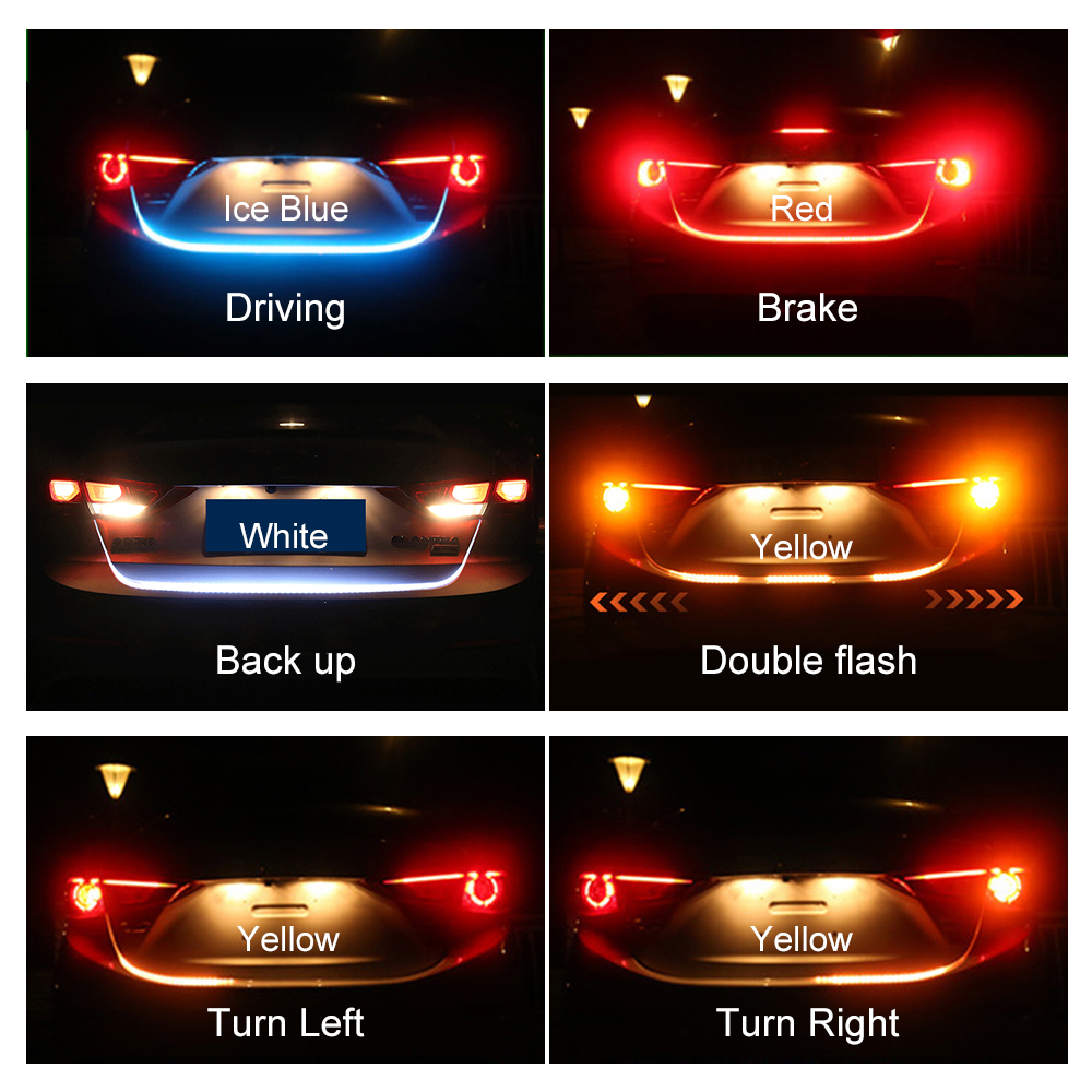 Niscarda 120cm Ice Blue Yellow Red White Wireless Remote Car Tail Trunk Tailgate Strip Light Dynamic