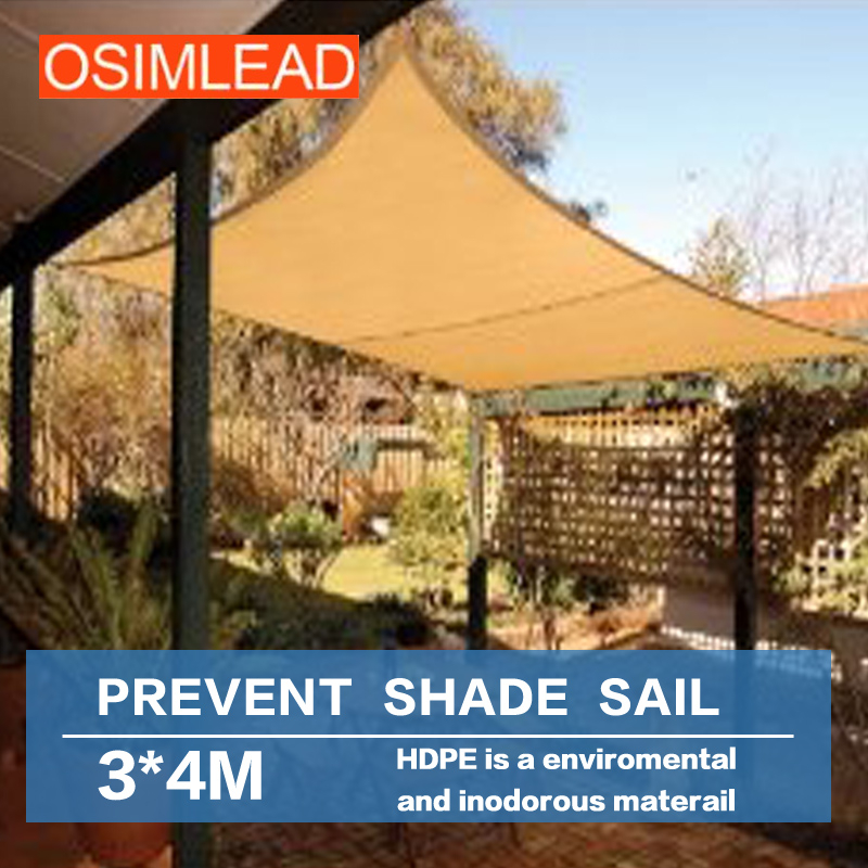 Free shipping OSIMLEAD 3*4 m sun shade sail RECTANGLE CANOPY COVER - OUTDOOR PATIO AWNING - 10 *13Free shipping OSIMLEAD 3*4 m sun shade sail RECTANGLE CANOPY COVER - OUTDOOR PATIO AWNING - 10 *13