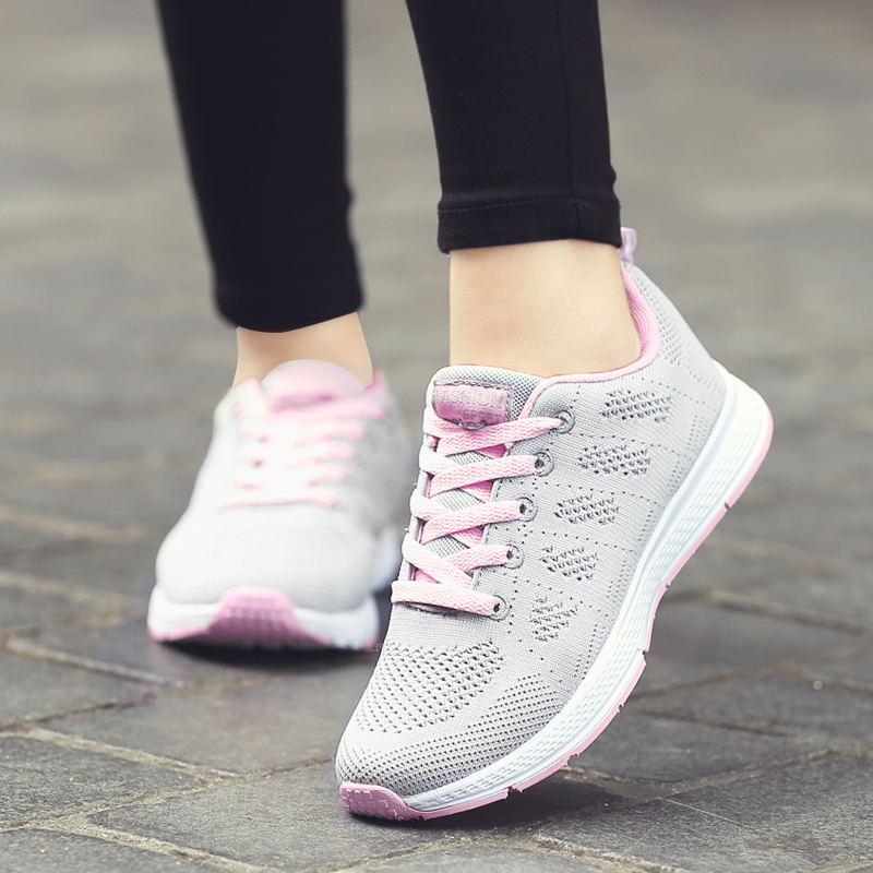 Summer Women Shoes Flats Sneakers Casual Ladies Shoes Mesh Breathable Sneakers Women Flat Plus Size 2019(China)