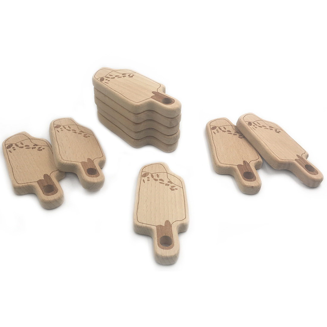 10pcs DIY Accessories baby Wooden Teether icecream pendent Natural Beech Wooden Toy Hand Cut Teether