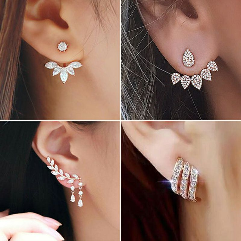 Crystal Flower Earrings For Women Fashion Jewelry Gold Silver Color Rhinestones Earrings Modern Jewelry Wholesale Gift Party