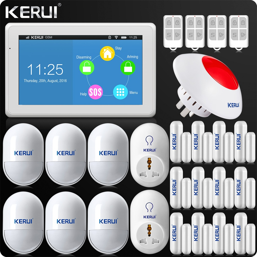 Kerui K7 Newest Arrival WIFI GSM Alarm System 7 Inch TFT Color Display for Home Alarm System Wifi Network Dual Antenna IP Camera kr k7 new arrival touch screen amazing design 7 inch tft color display wifi gsm flat table alarm system kit sd03 smoke detector