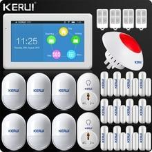 Kerui K7 Новые Прибытие WIFI GSM Сигнализация 7 Дюймов TFT цветной Дисплей для Системы Домашней Сигнализации Сети Wifi Двойной Антенны IP камера