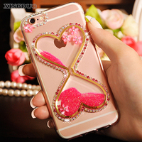 XINGDUO For Xiaomi Redmi 4x Phone Case Flower Diamond Bling Love Quicksand Rhinestone Cover Case For