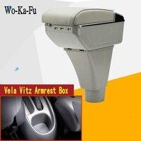 For Vela Vitz Vela armrest box central Store content Storage Yaris verso armrest box with cup holder ashtray USB interface