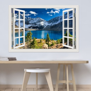 Modern 3D Large Decal Landscape Wall Sticker Snow Mountain Lake Nature Window Frame View For Living Room