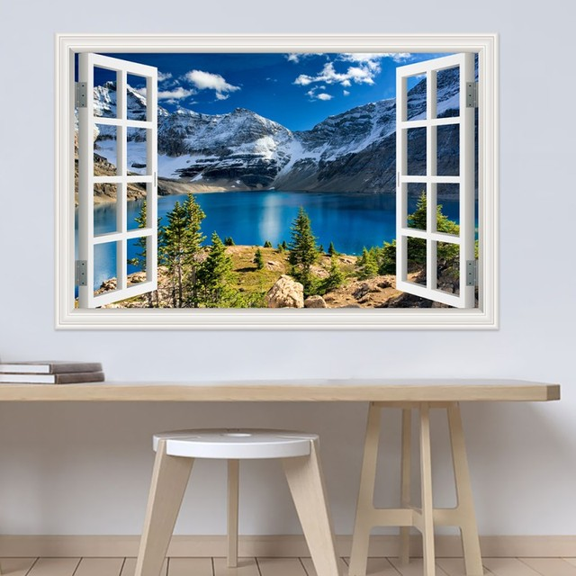 Modern 3D Large Decal Landscape Wall Sticker Snow Mountain Lake Nature Window Frame View Vinyl Home Decor Living Room Bedroom