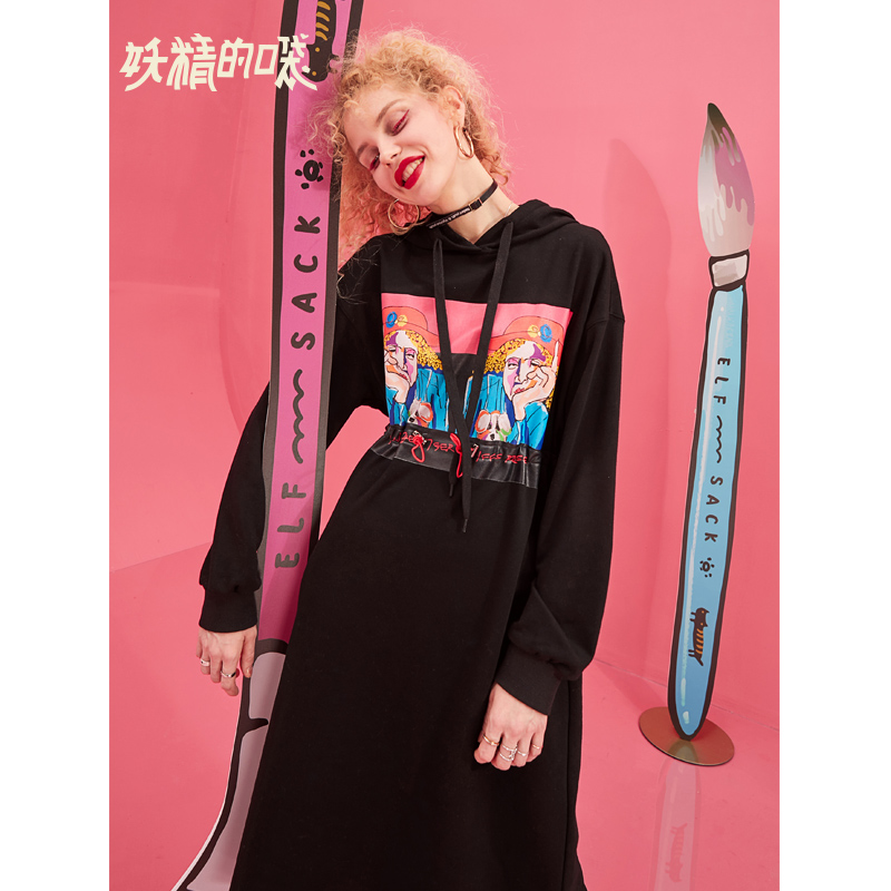 ELF SACK 2019 New Fashion Woman Dress Casual Print Oversized Dresses Woman Vintage Vestidos Knee Length