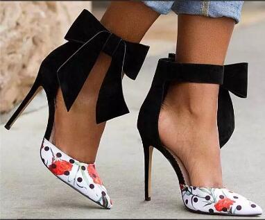 2017 nieuwe aankomen Vrouwen enkel Big Strikje Vrouwen bloem lederen puntschoen Hoge hak schoenen party boog hoge hakken schoenen echte foto