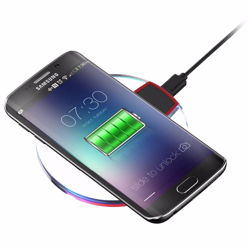 buy 5v 2a crystal charging pad qi wireless charger receiver for samsung s7 edge. Black Bedroom Furniture Sets. Home Design Ideas