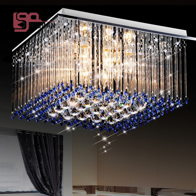 High Quality Modern Blue Chandelier Crystal Lamp Square Light For Bedroom Decorative Lighting Fixtures