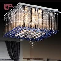 high quality modern blue chandelier crystal lamp square crystal light for bedroom decorative lighting fixtures
