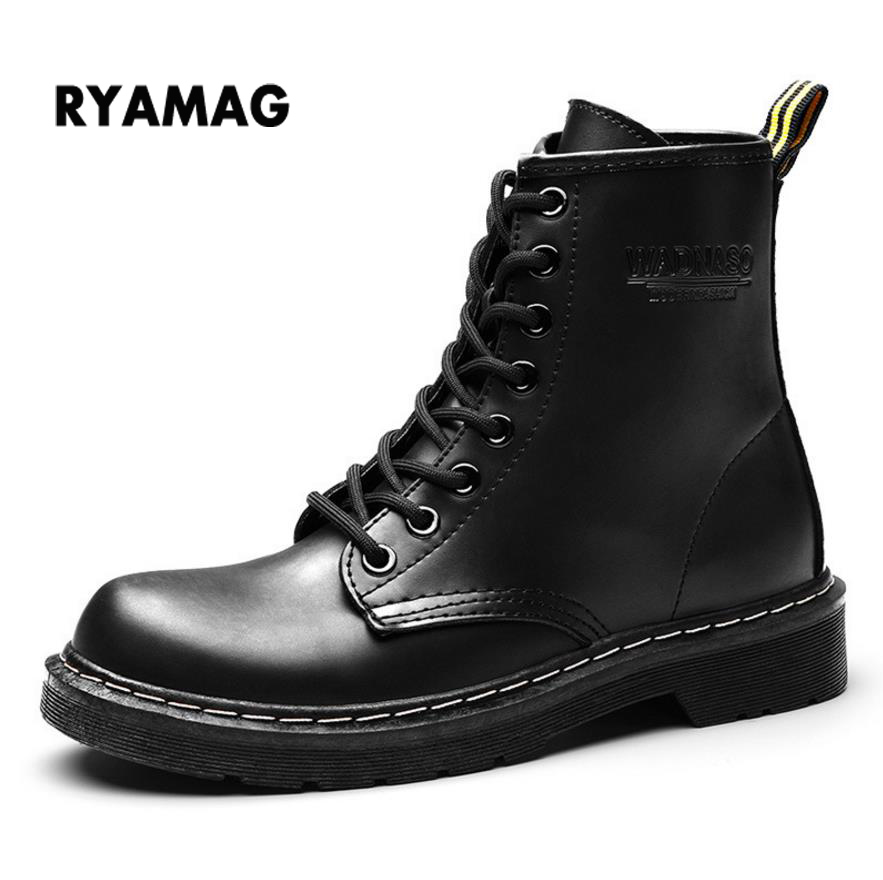 2018 New Autumn and Winter Waterproof Artificial Leather Boots Women's Martin Boots British Winter Warm Shoes for Girl platform 2017 new autumn winter british retro men shoes zipper leather breathable sneaker fashion boots men casual shoes handmade