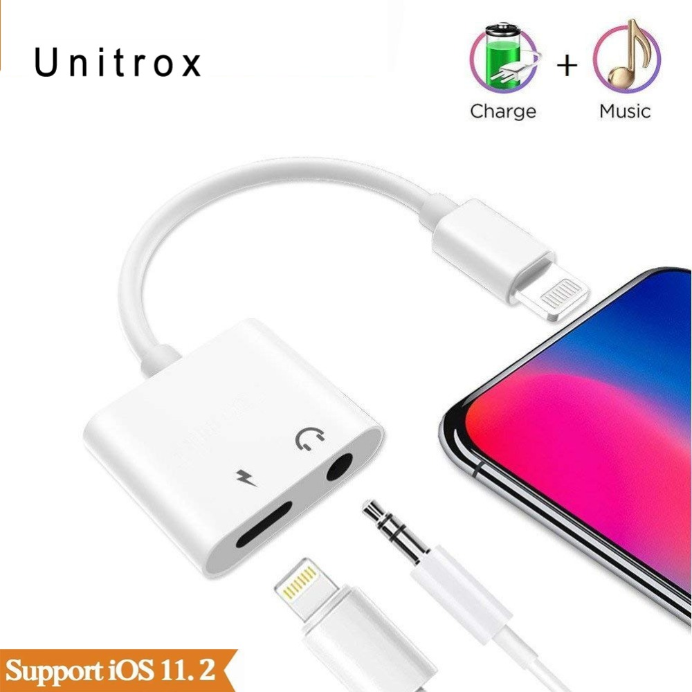 2 in 1 for lightning to 3.5mm Audio Adapter Aux Converter Plug for iPhone 6/6S/7/8/X/plus headphone Jack splitter Charge adaptor 1pcs 6 35mm plug 6 5mm 1 4male plug to 3 5mm 1 8female jack stereo headphone audio adapter trs 6 35 to 3 5 converter