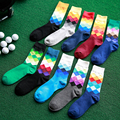 New Men Sock Thick Male Rhombus Print Super Quality Business Casual Warm Breathable Long Cotton Socks Mens 10 Colors M456