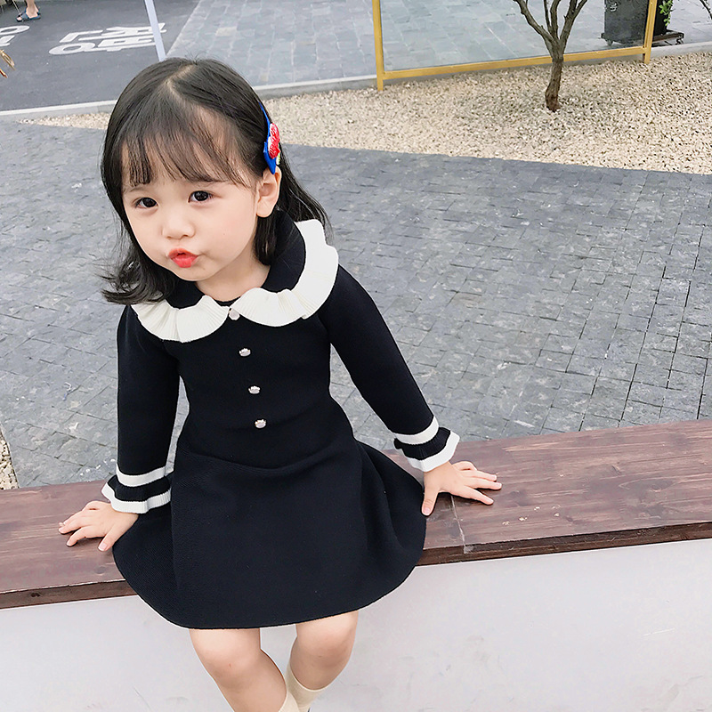 Sweater Dress Children for Girls Baby Knitted Clothing Black Kids Pink