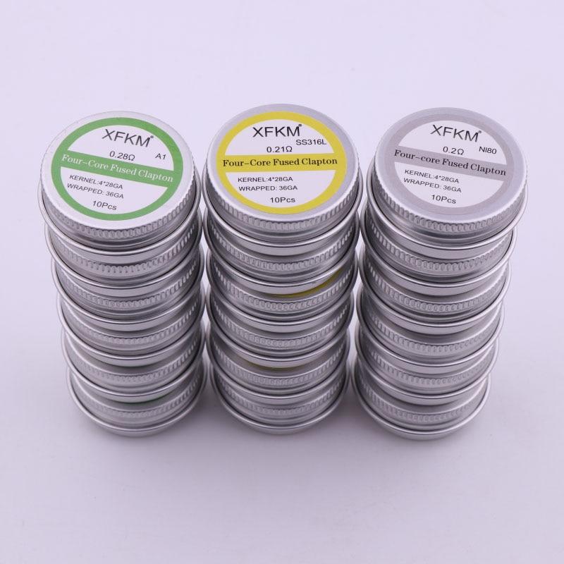 XFKM 10pcs Alien Clapton Vape Heating Wire Prebuilt Coil NI80 SS316L A1 Premade Wrap Coil DIY RDA RBA RTA Ecig Atomizer